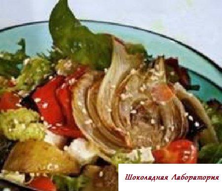 Новогодний рецепт овощного салата с жареными кабачками