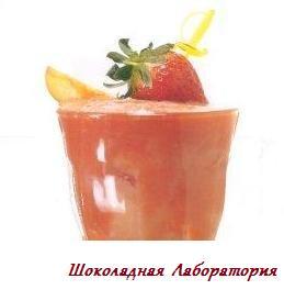 Рецепт - Коктейль земляничный слаш с персиком