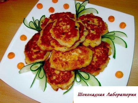 Рецепт - Кукурузные оладушки с курятиной