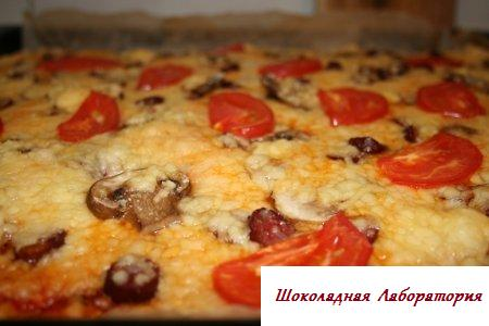 пицца рецепт в духовке с сосисками